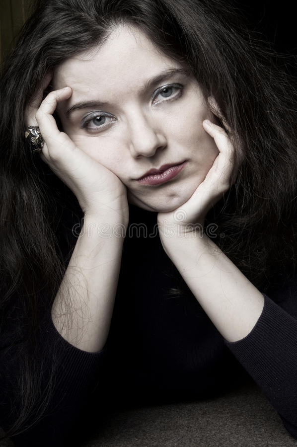 Bored,exhausted woman royalty free stock photo
