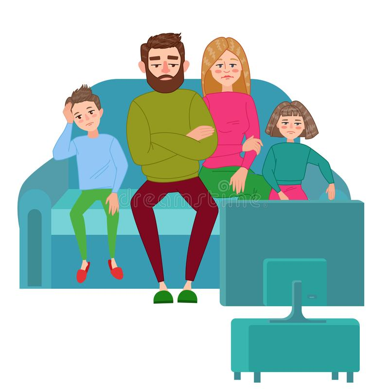 Bored Family Watching TV. Television Addiction. Unhappy Parents with Children Sitting on Sofa behind TV Set vector illustration