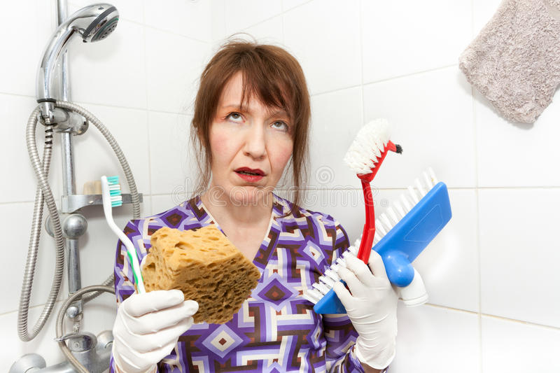Download Bored housekeeper stock image. Image of bathroom, funny - 17714681