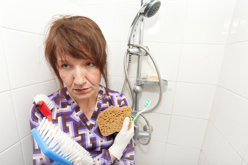 Download Bored housekeeper stock photo. Image of housework, funny - 17767924