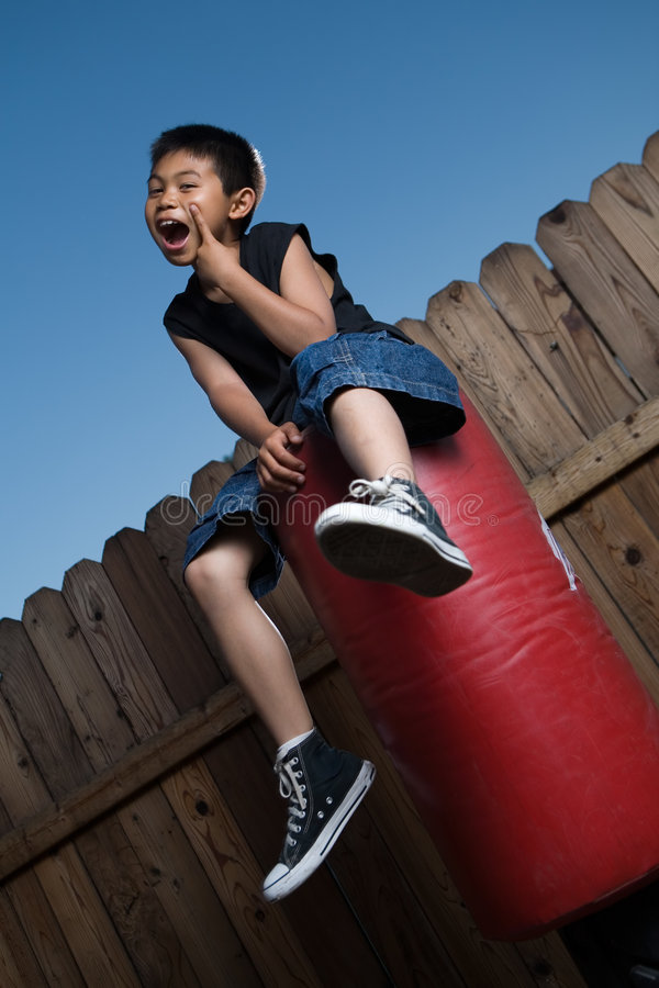 Download Bored kid stock photo. Image of portrait, punching, blue - 2715698