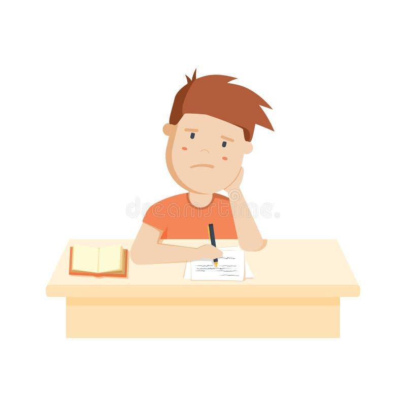Bored kid doing homework or sitting on boring school lesson. Cute cartoon vector illustration stock illustration
