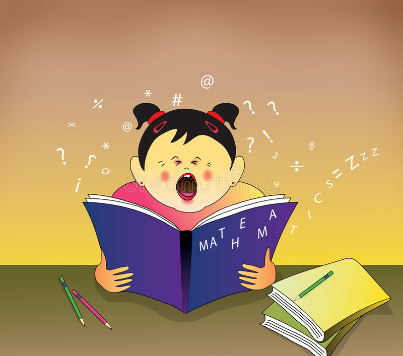 Download Bored kid yawning stock illustration. Image of numbers - 22999013