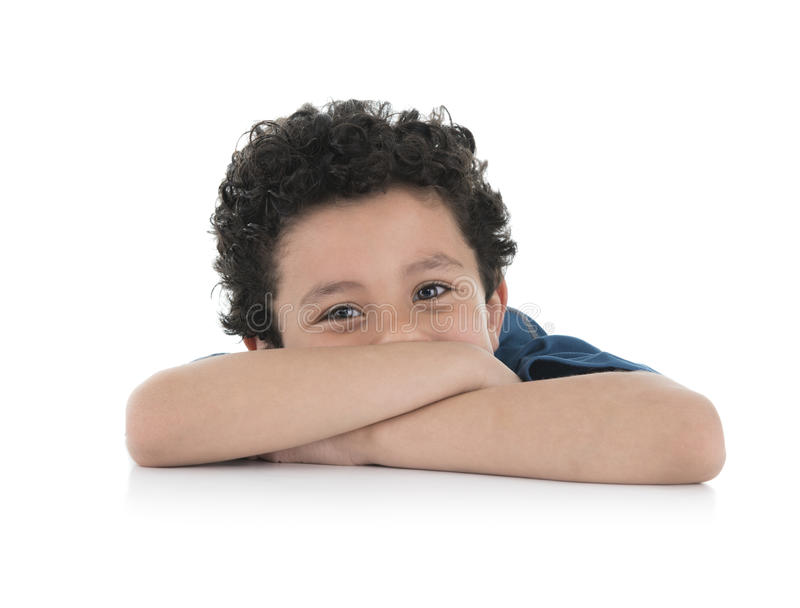 Bored Kid. Young Bored Kid Isolated on White Background stock photography