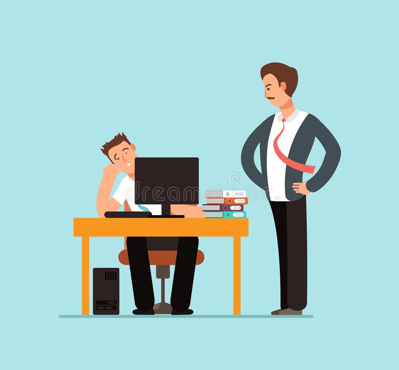 Bored lazy worker at desk behind computer and angry boss in office vector illustration. Lazy character in office, worker at computer and boss royalty free illustration