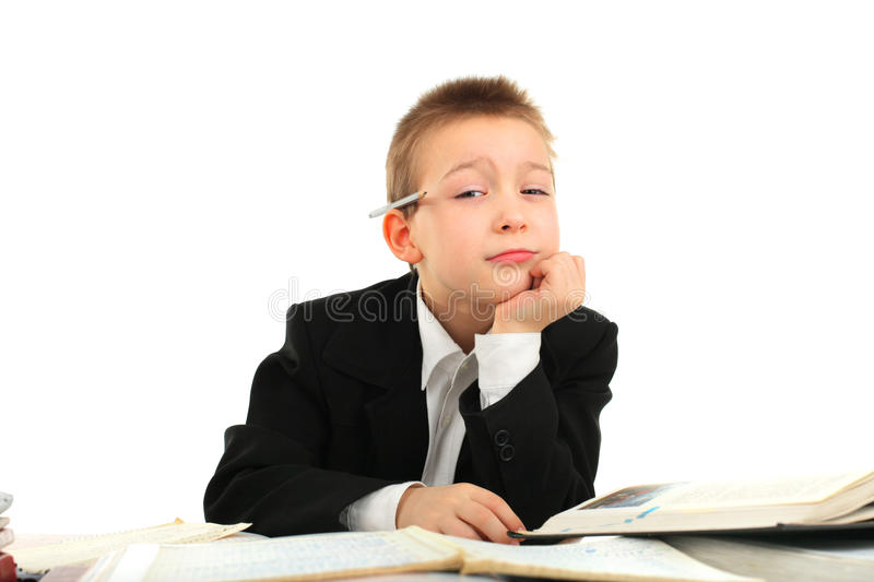 Download Bored schoolboy stock image. Image of exhausted, education - 22946149