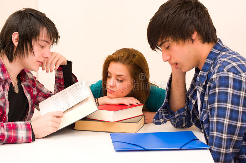 Bored students. Lacking the energy to face their studies stock photos