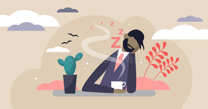 Bored vector illustration. Flat tiny without work and lazy persons concept. royalty free illustration