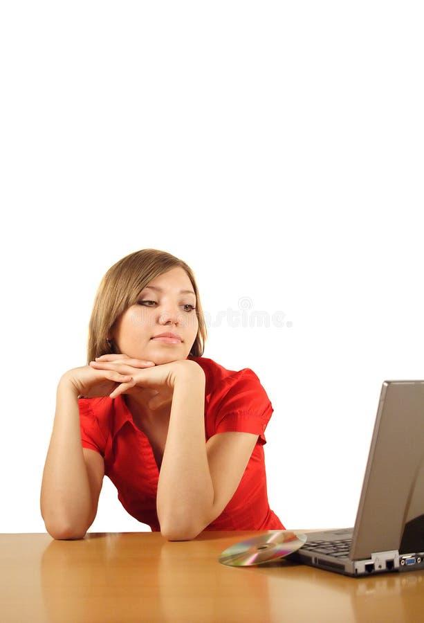 Bored woman at work royalty free stock photos