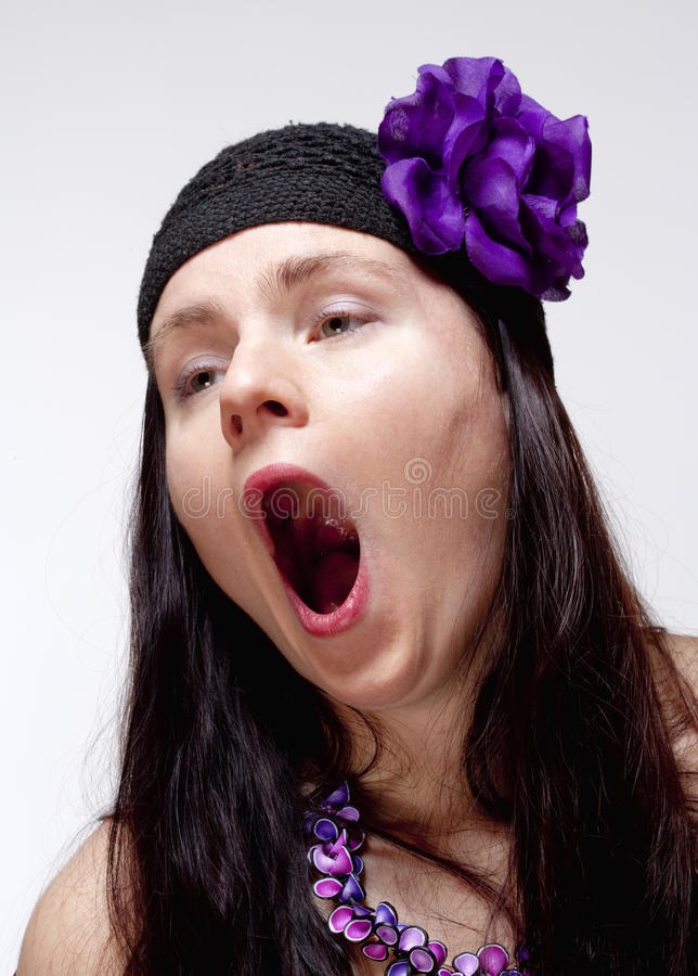Download Bored Young Woman Yawning With Open Mouth Stock Photo - Image of person, yawning: 38720226