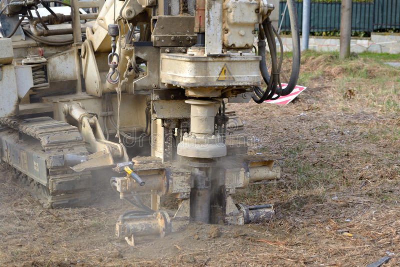 Borehole for soil testing stock image