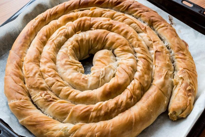 Borek rotondo in vassoio/torta greca del formaggio fotografie stock libere da diritti