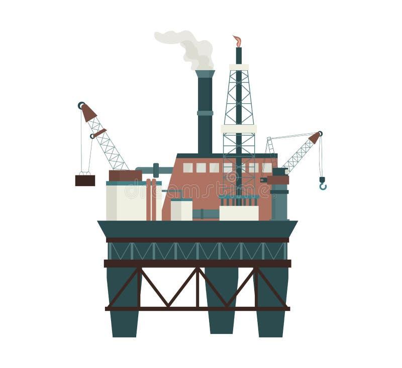 Boren van boorplatforms voor offshore olie Industriële exploratie van aardolie royalty-vrije illustratie