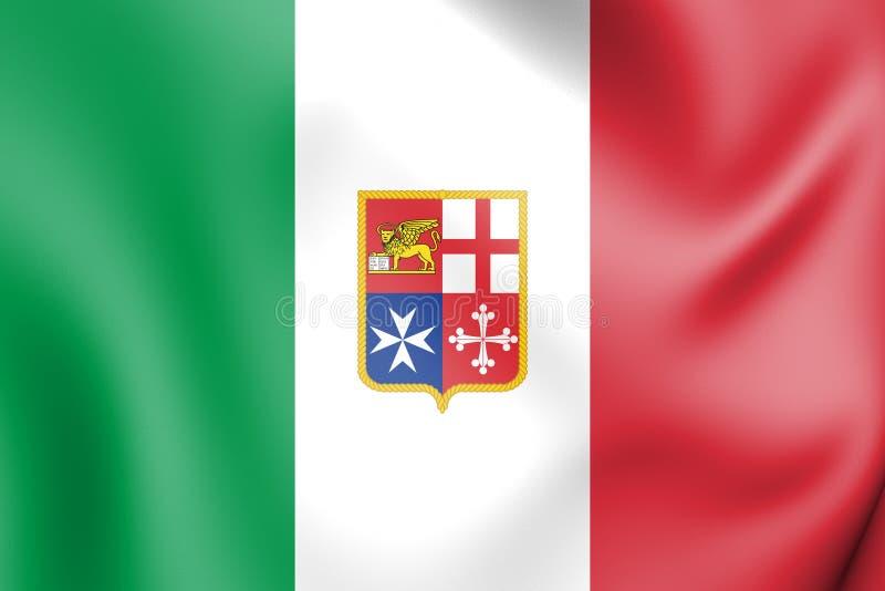 borgerlig flagga 3D av Italien vektor illustrationer