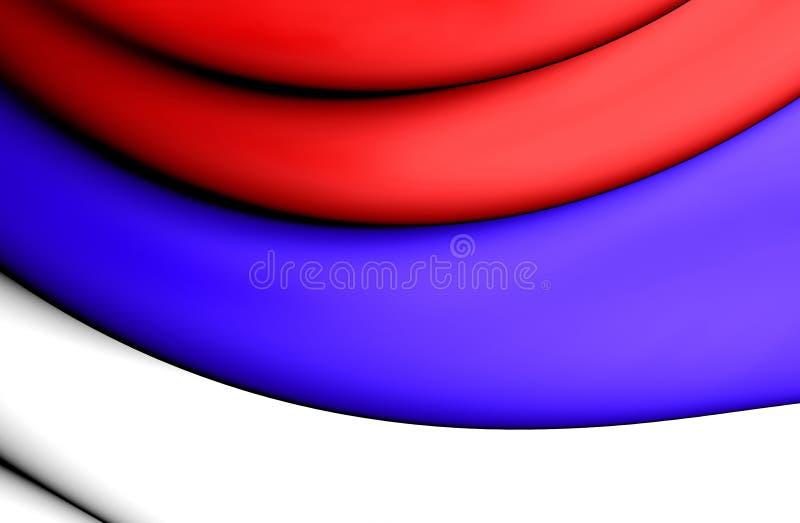 borgerlig flagga 3D av Serbien royaltyfri illustrationer