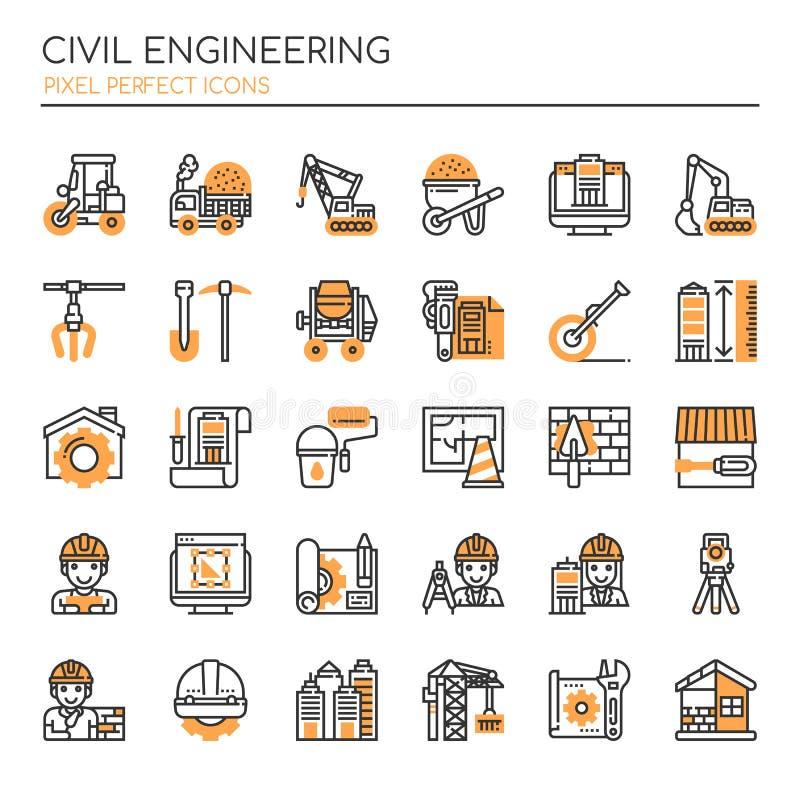 Borgerliga Enginerring, gör perfekta symboler för linje tunnare och för PIXEL stock illustrationer