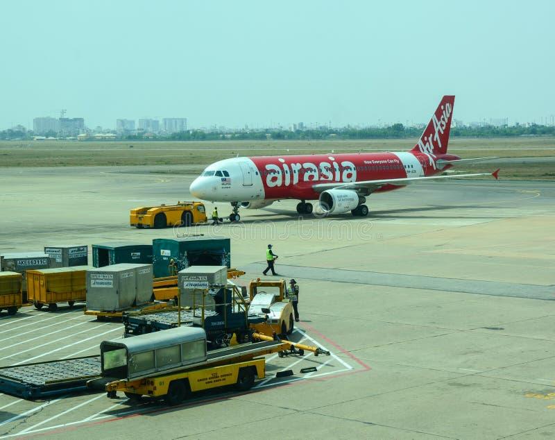 Borgerligt flygplan på KLIA-flygplatsen, Malaysia royaltyfri bild