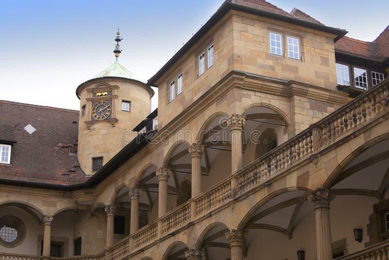 borggård av det 10th århundradet för gammal slott i Stuttgart royaltyfri bild