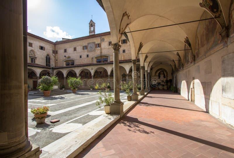 Borggård för yttre sikt av basilikadellaen Santissima Annun royaltyfri fotografi