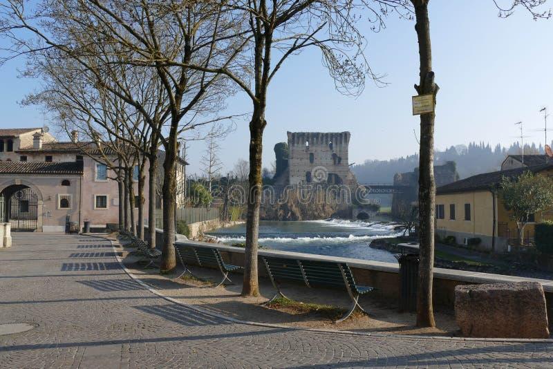 Borghetto –罗马桥梁全景 免版税库存图片