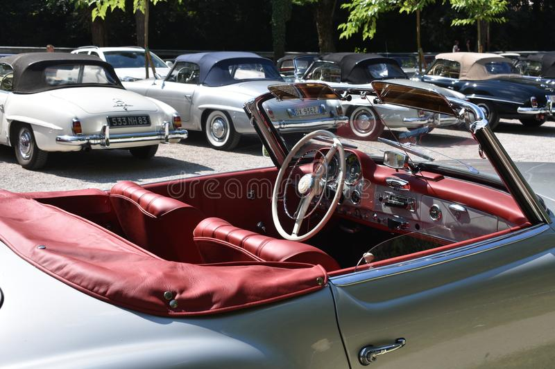 Borghetto sul Mincio, Italy - June 23 2018: gathering of the historical cars branch of the Italian Automobile Club. Classic and vintage cars taking part in the stock photo