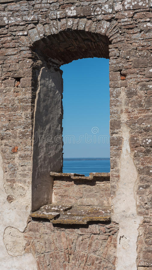 Borgholm castle. From inside with seaview royalty free stock photography