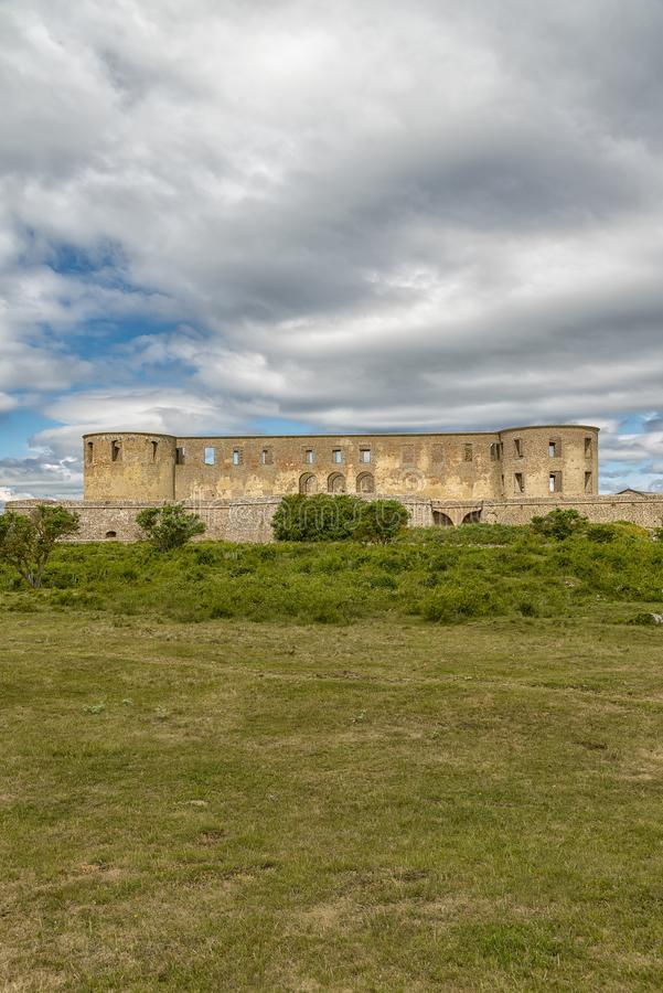 Borgholm Castle Ruin. Borgholm Castle on Oland, Sweden, is today only a ruin of the fortress that was first built in the second half of the 13th century and stock image