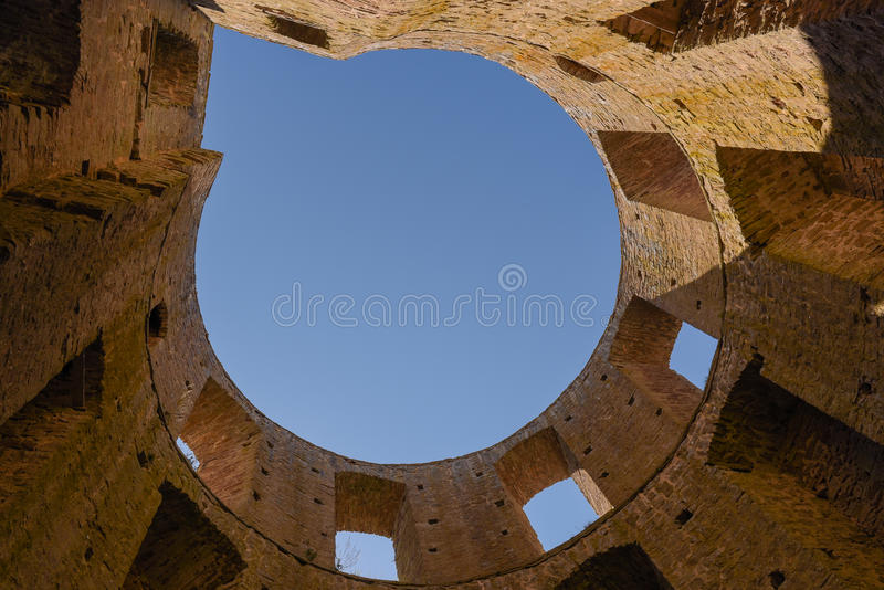 Borgholm castle. Photographed from the bottom of the tower up to the sky stock photos