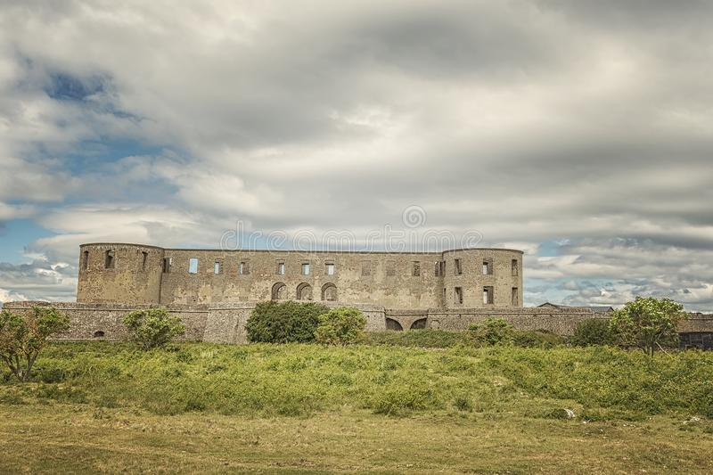 Borgholm Castle Ruin. Borgholm Castle on Oland, Sweden, is today only a ruin of the fortress that was first built in the second half of the 13th century and royalty free stock photo