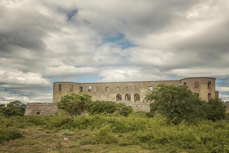 Borgholm Castle Ruin 01. Borgholm Castle on Oland, Sweden, is today only a ruin of the fortress that was first built in the second half of the 13th century and stock image