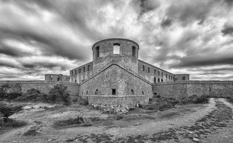 Borgholm Castle Ruin Panorama. Borgholm Castle on Oland, Sweden, is today only a ruin of the fortress that was first built in the second half of the 13th century stock photo