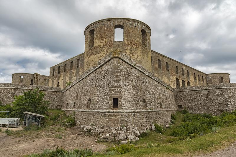 Borgholm Castle Ruins. Borgholm Castle on Oland, Sweden, is today only a ruin of the fortress that was first built in the second half of the 13th century and royalty free stock photography