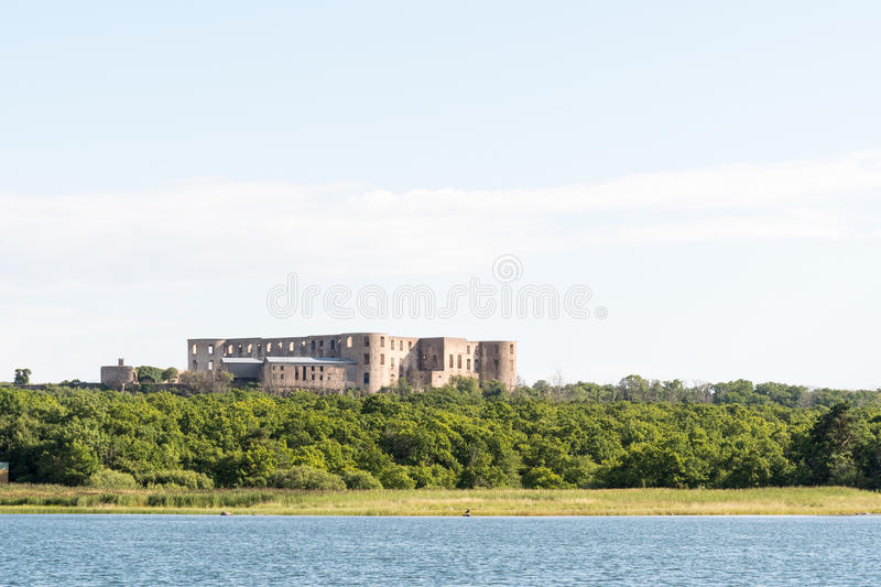 Borgholm castle from seaside. Borgholm Castle ruin at the island Oland in Sweden from seaside stock photos