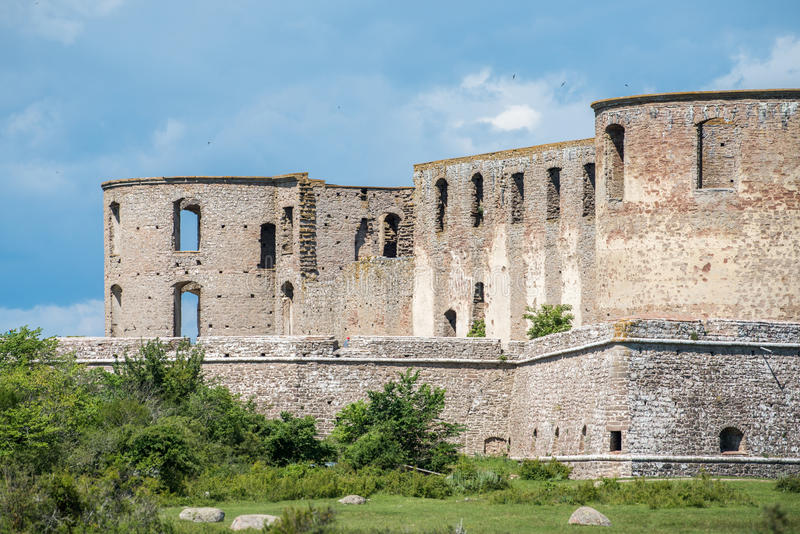 Borgholm castle, Sweden. Borgholm castle on Swedish Baltic sea island Oland is a ruin of a fortress that was built in the 13th century and rebuilt several times royalty free stock images
