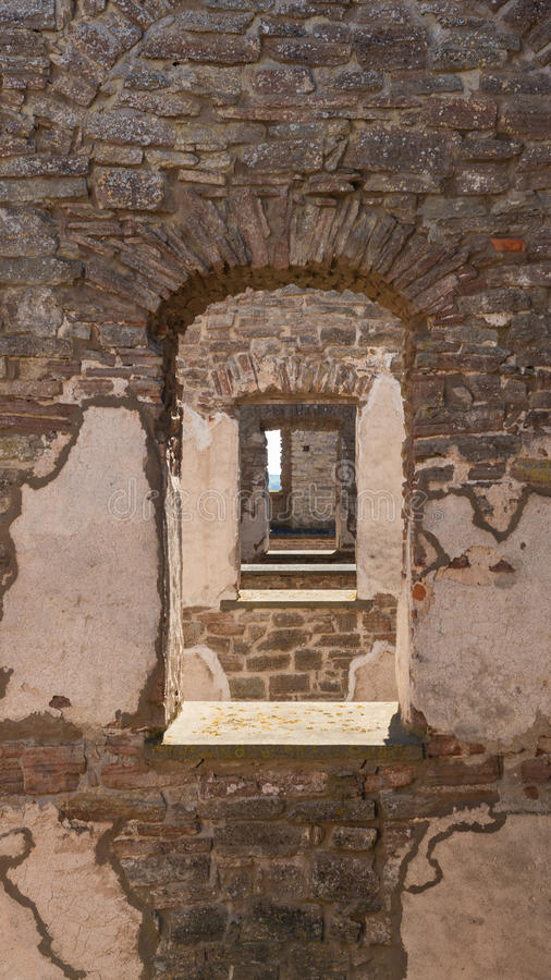 Borgholm castle. From window to window stock photo