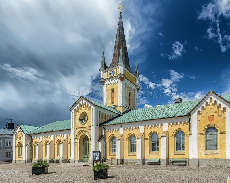 Borgholm Church from the right. Borgholm Church is a church in Borgholm on Swedish Baltic Sea island of Oland. Belonging to Borgholm Parish and the Church of royalty free stock photos