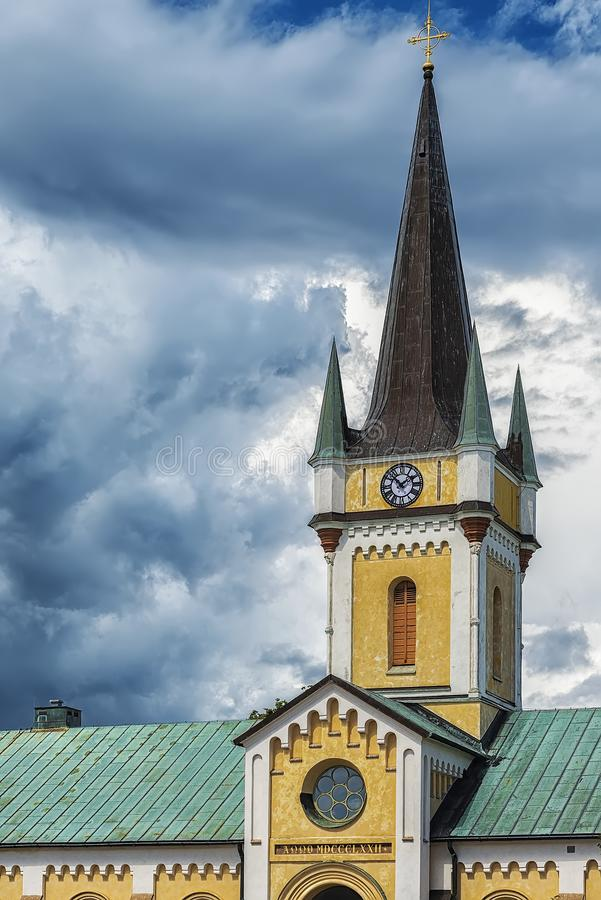Borgholm Church Steeple. Borgholm Church is a church in Borgholm on Swedish Baltic Sea island of Oland. Belonging to Borgholm Parish and the Church of Sweden stock images