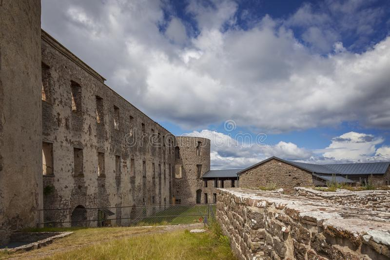 Borgholm fort ruin. Ruins from a fortification in Borgholm, Sweden royalty free stock images