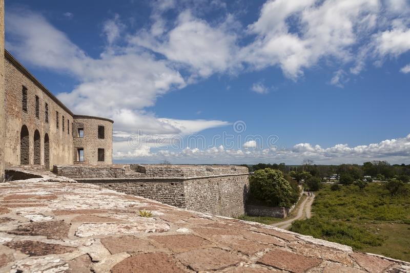 Borgholm fortified castle ruins. Borgholm medieval fortification remains on Oland, Sweden royalty free stock images