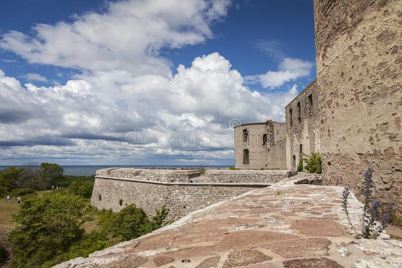 Borgholm fort ruins. Borgholm mediaval fortification remains on Oland stock images