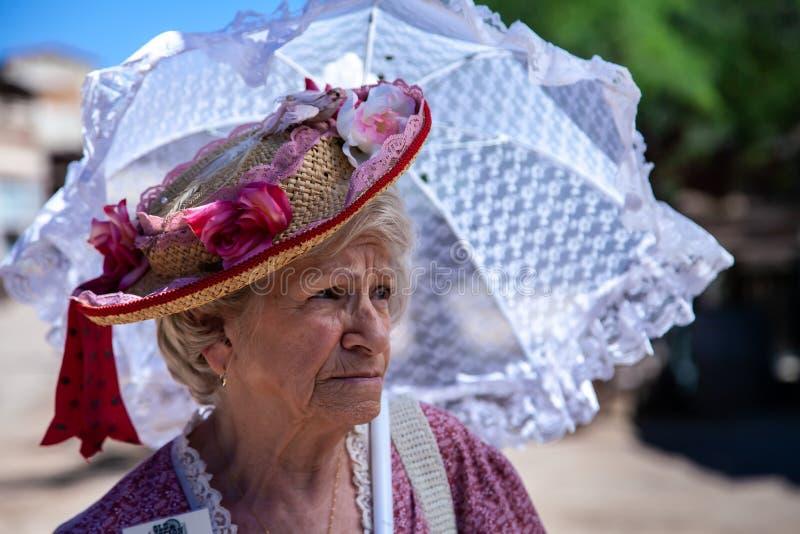 Borgmästares fru i gammal Tucson filmstudio royaltyfri bild