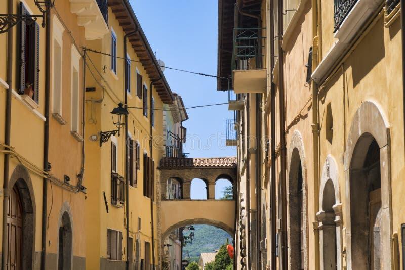 Borgo Velino Rieti, Lazio, Italien, gammal gata arkivfoto