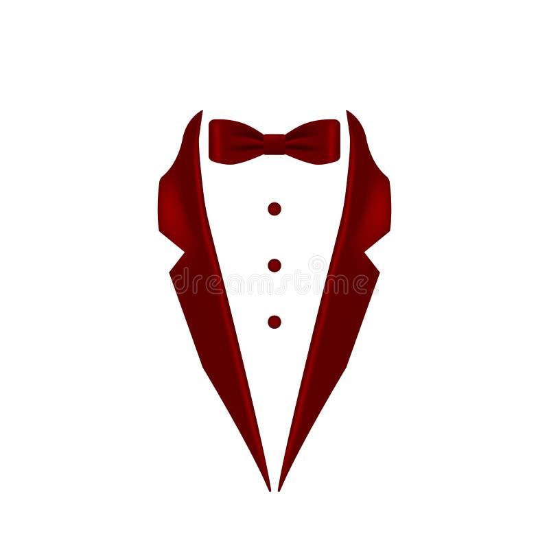 Borgogna ha colorato l'icona del collare dello smoking del farfallino Elemento dell'illustrazione dell'abbigliamento maschile di  illustrazione di stock