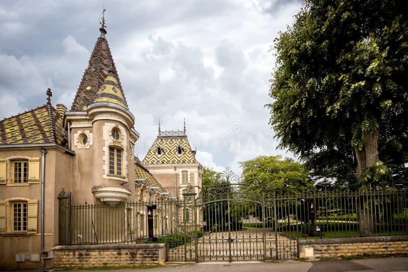 Borgonha, castelo Corton Charlemagne france imagens de stock