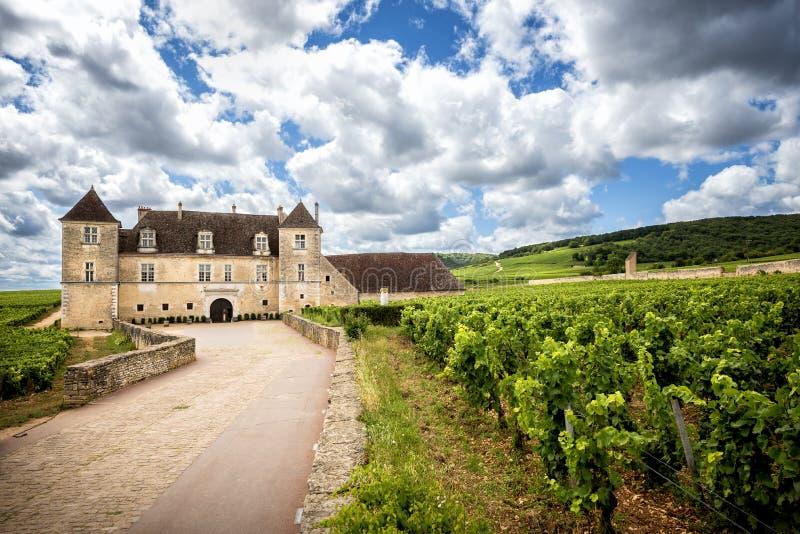 Borgonha, Castelo du Clos de Vougeot e vinhedos france fotos de stock