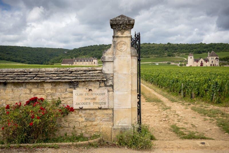 Borgonha, Clos de Vougeot france Apresente em uma área de aproximadamente 50 hectare, Clos de Vougeot é uma denominação grande de imagens de stock