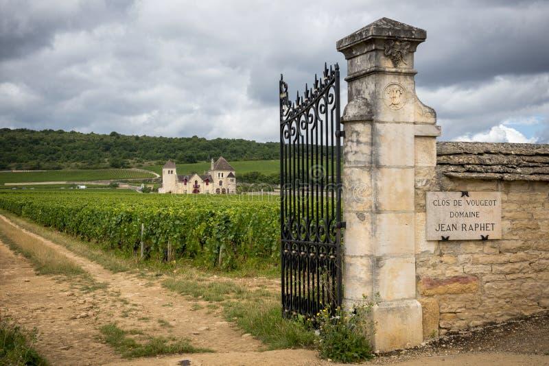 Borgonha, Clos de Vougeot france Apresente em uma área de aproximadamente 50 hectare, Clos de Vougeot é uma denominação grande de foto de stock