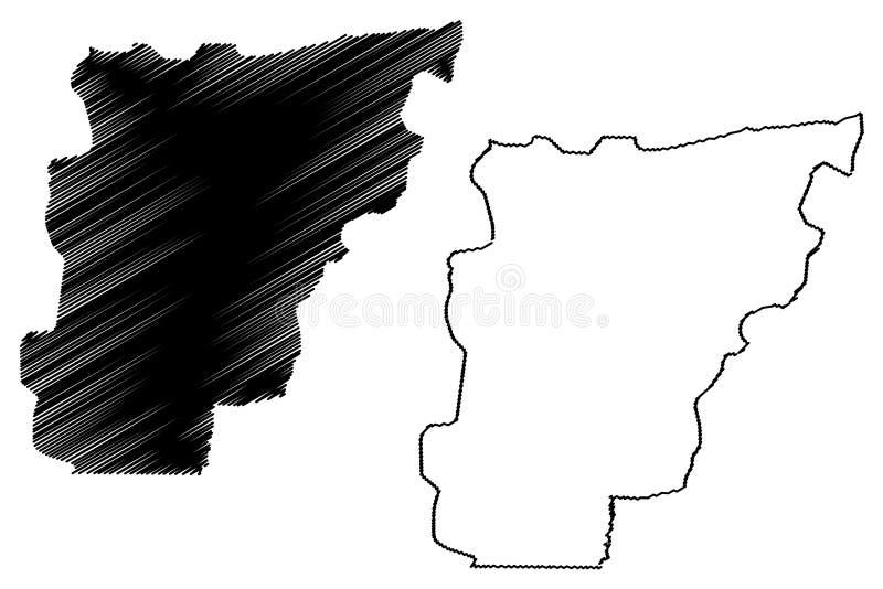 Borgou-Abteilungs-Abteilungen von Benin, Republik Benin, Dahomey Karten-Vektorillustration, Gekritzelskizze Borgou-Karte stock abbildung