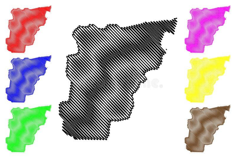 Borgou-Abteilungs-Abteilungen von Benin, Republik Benin, Dahomey Karten-Vektorillustration, Gekritzelskizze Borgou-Karte lizenzfreie abbildung
