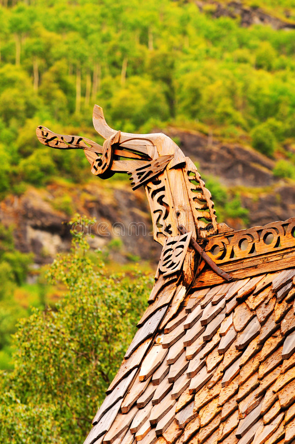 Borgund church roof stock photography